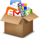 Cardboard box containing the icons of a variety of apps